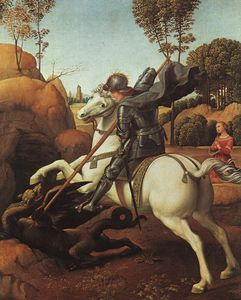 St. George Fighting the Dragon, - (28.5x21.5)