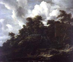Wooden hillside with a view of Castle Bentheim