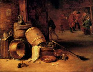 An Interior Scene_With Pots Barrels Baskets Onions and Cabbages