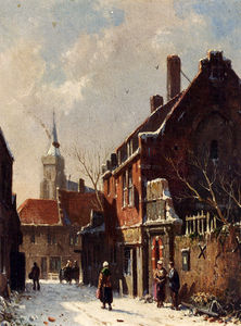 Figures in the streets of a dutch town in winter