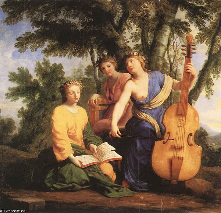 Wikioo.org - The Encyclopedia of Fine Arts - Painting, Artwork by Brother Lesueur (Eustache Le Sueur) - The muses melpomene erato and polymnia