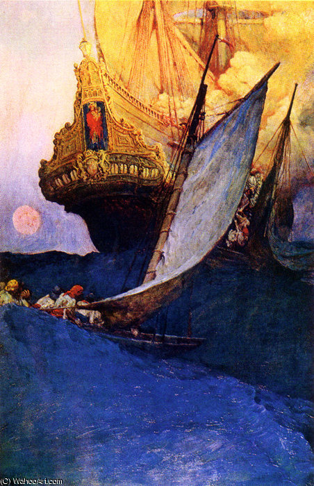 Wikioo.org - The Encyclopedia of Fine Arts - Painting, Artwork by Howard Pyle - Attack on a Galleon