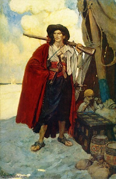 Wikioo.org - The Encyclopedia of Fine Arts - Painting, Artwork by Howard Pyle - The Pirate was a Picturesque Fellow