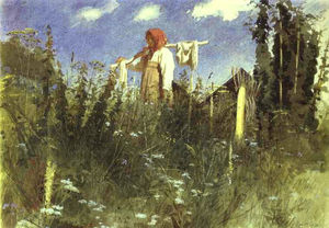 Girl with Washed Linen on the Yoke