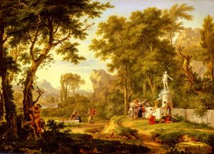 A classical landscape with the worship of bacchus