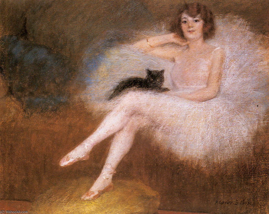 Wikioo.org - The Encyclopedia of Fine Arts - Painting, Artwork by Albert Ernest Carrier Belleuse - Ballerina with a black cat
