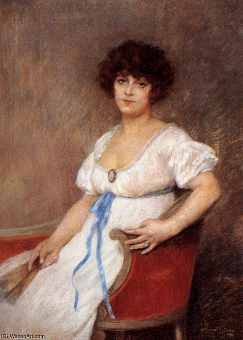Wikioo.org - The Encyclopedia of Fine Arts - Painting, Artwork by Albert Ernest Carrier Belleuse - Portrait of a seated lady