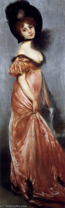 Wikioo.org - The Encyclopedia of Fine Arts - Painting, Artwork by Albert Ernest Carrier Belleuse - Young girl in a pink dress