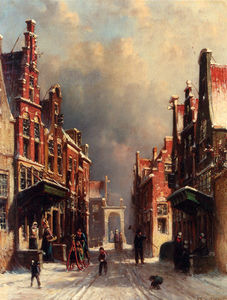Petrus gerardus a town view in winter with figures conversing on porches
