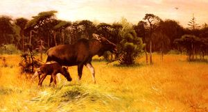 Moose with her calf in a landscape