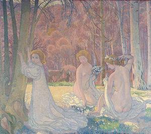 Figures in a Spring Landscape (Sacred Grove) , E