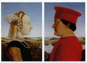 Left - Portrait of Battista Sforza, Duc