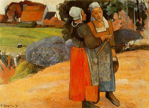 Paysanes Bretones (Breton peasant women) Oil on