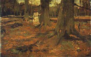 Femme en blanc dans le bois