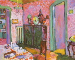 Interior (My Dining Room), oil on cardboard,