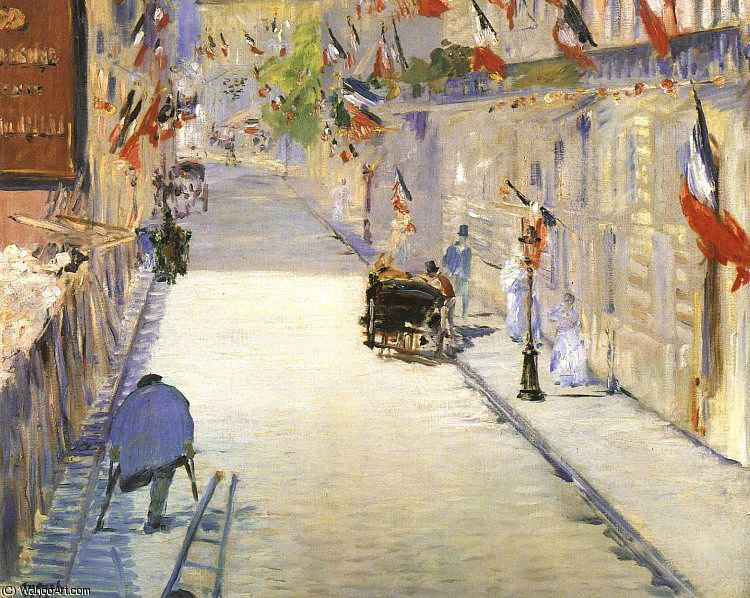Wikioo.org - The Encyclopedia of Fine Arts - Painting, Artwork by Edouard Manet - Rue Mosnier with Flags, J. Paul Getty Museum, Ma