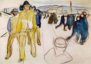 Workers returning home Watercolor after Kommunes