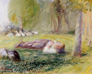 Goose girl reclining