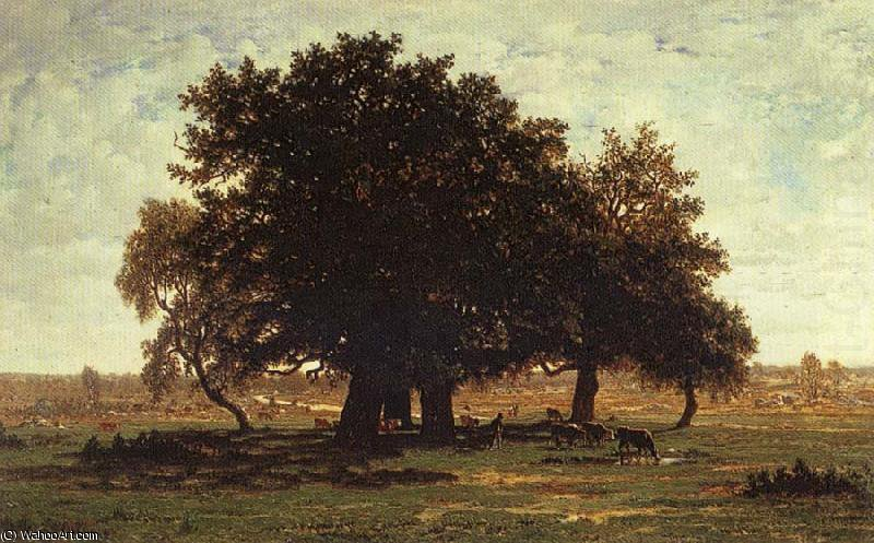 Wikioo.org - The Encyclopedia of Fine Arts - Painting, Artwork by Theodore Roussel - Oak Trees near Apremont