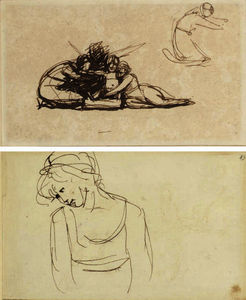 The infant shakespeare; and a young girl, two pages from a sketchbook