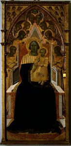 Madonna and Child enthroned, surrounded by angels