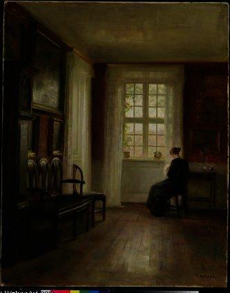 Wikioo.org – La Enciclopedia de las Bellas Artes - Pintura, Obras de arte de Carl Vilhelm Holsoe - Interior con la mujer de coser