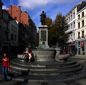 Belgium), Vinâve d'Ile, Fountain with the Virgin by Jean Del Cour