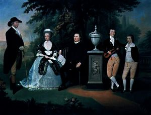 Members of the Wilson family grouped round a memorial of William Pitt the Younger