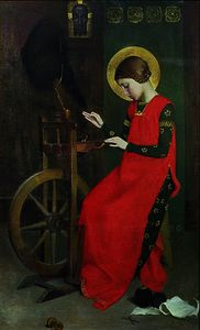 St. Elizabeth of Hungary spinning Wool for the