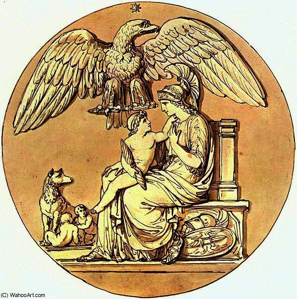 Wikioo.org – La Enciclopedia de las Bellas Artes - Pintura, Obras de arte de Bartolomeo Pinelli - La diosa Roma y el Rey de Roma