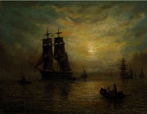 A merchantman and other shipping running in to port at dusk