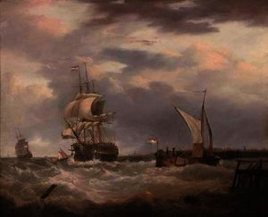 A dutch emigrant ship dropping the pilot and leaving her homeland astern