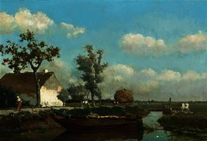A polder landscape with a figure on a barge