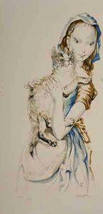 Jeune femme et chat