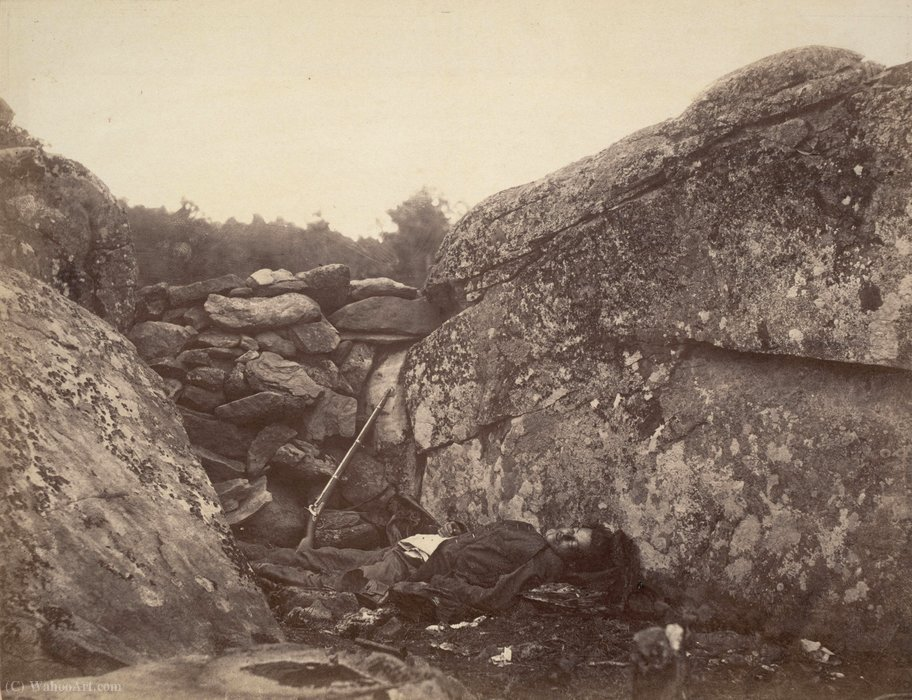 Wikioo.org - The Encyclopedia of Fine Arts - Painting, Artwork by Alexander Gardner - Home of a Rebel Sharpshooter, Gettysburg from Gardner's Photographic Sketchbook of the War,