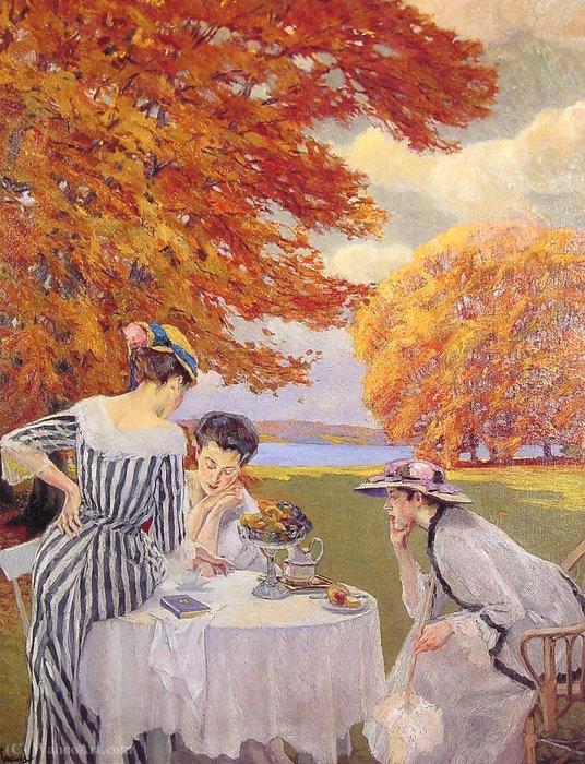 Wikioo.org – L'Encyclopédie des Beaux Arts - Peinture, Oeuvre de Edward Cucuel - Thé dans le parc