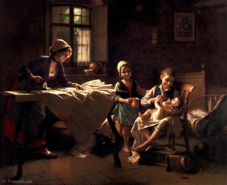 Wikioo.org – L'Enciclopedia delle Belle Arti - Pittura, Opere di Giovanni Battista Torriglia - Una famiglia felice