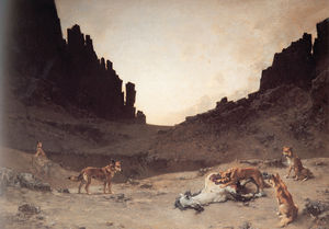 Dogs of the Douar Devuring a Dead Horse