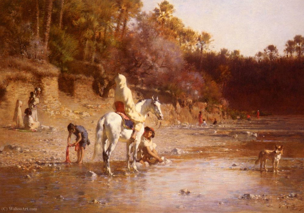 Wikioo.org - The Encyclopedia of Fine Arts - Painting, Artwork by Gustave Guillaumet - Achille La Riviere A El-Kantara