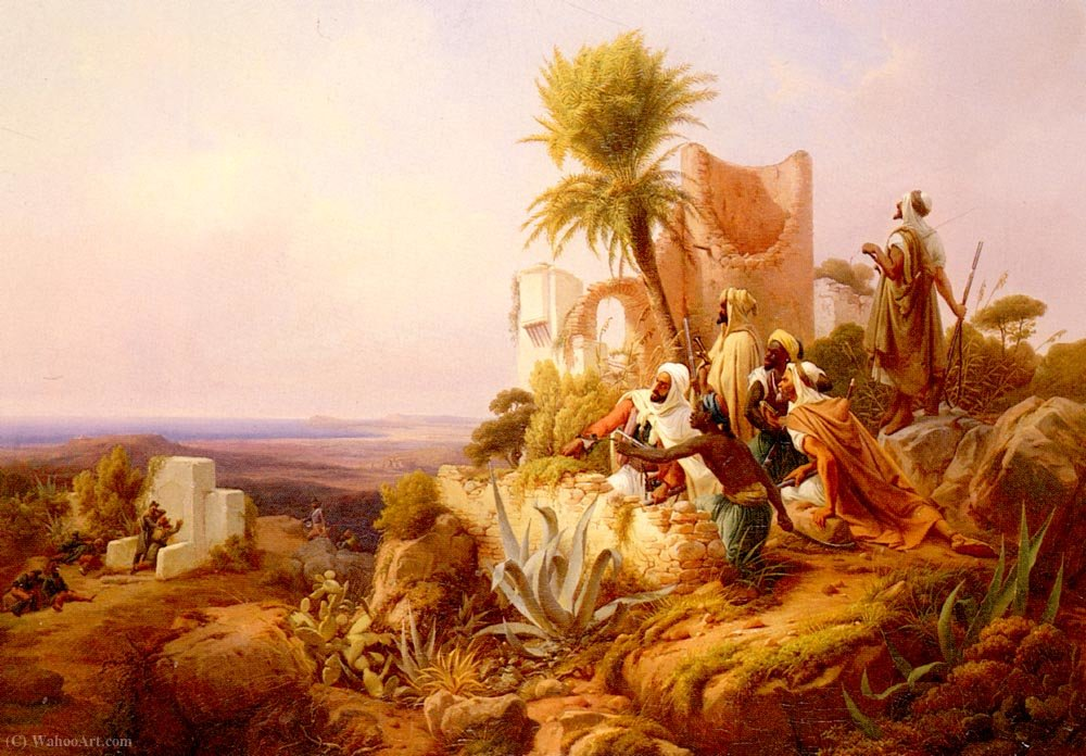 Wikioo.org - The Encyclopedia of Fine Arts - Painting, Artwork by Niels Simonsen - Arabs in a hilltop fort