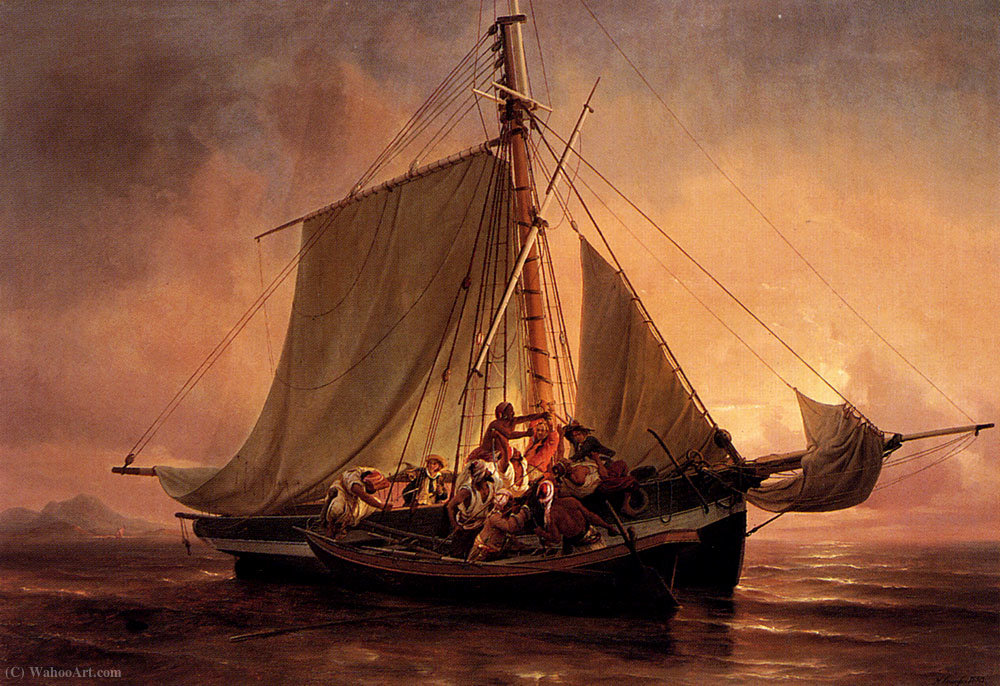 Wikioo.org - The Encyclopedia of Fine Arts - Painting, Artwork by Niels Simonsen - Arab pirate attack