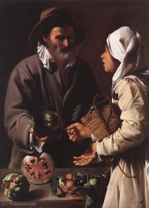 Wikioo.org - The Encyclopedia of Fine Arts - Painting, Artwork by Pensionante Del Saraceni - The fruit vendor