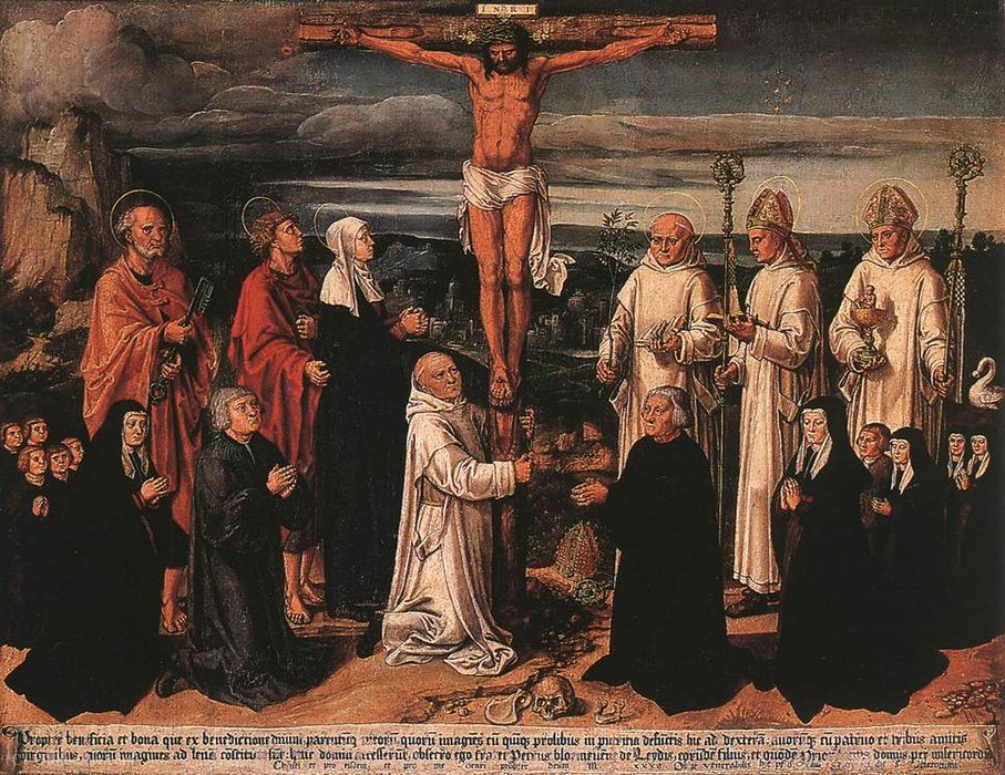 Wikioo.org - The Encyclopedia of Fine Arts - Painting, Artwork by Anton Woensam Von Worms - Christ on the Cross with Carthusian Saints