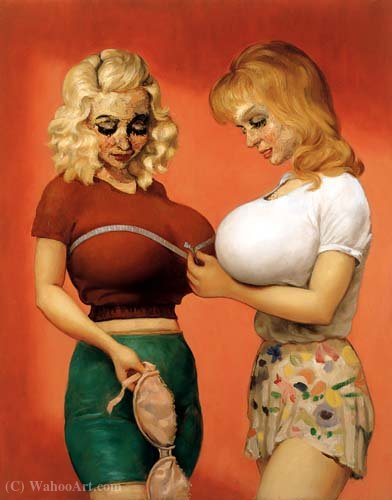Wikioo.org - The Encyclopedia of Fine Arts - Painting, Artwork by John Currin - The Bra Shop 2 (1997)