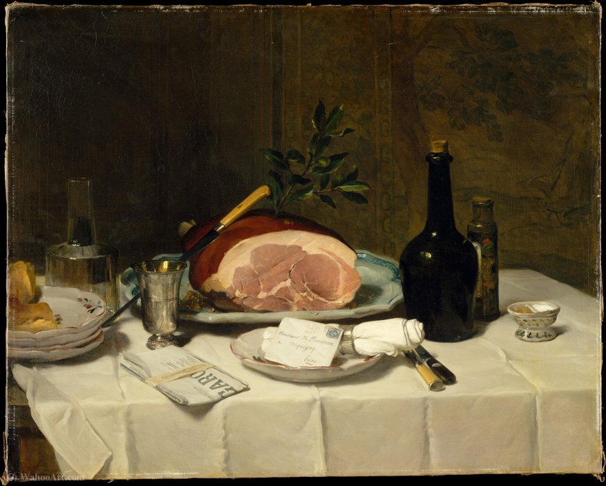 Wikioo.org - The Encyclopedia of Fine Arts - Painting, Artwork by Philippe Rousseau - Still Life with Ham (1870s)