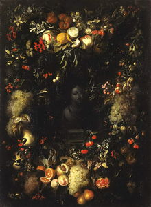 Bust of the Madonna in a garland of fruit (1660s) (116 x 85) (St. Petersburg, Hermitage)
