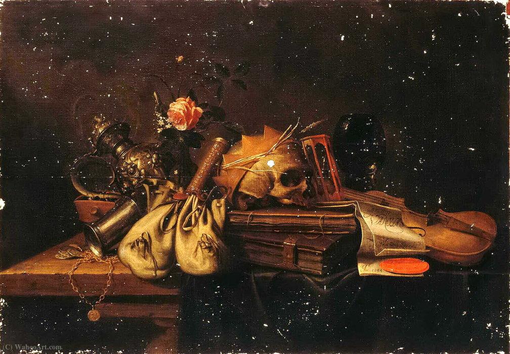 Wikioo.org - The Encyclopedia of Fine Arts - Painting, Artwork by Jan Pauwel Gillemans The Elder - Still life Vanitas (vanity) (1654) (96 x 140) (St. Petersburg, Hermitage)