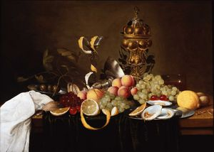 Still life with fruit, oysters and a golden cup (1640s) (55 x 77) (private collection)