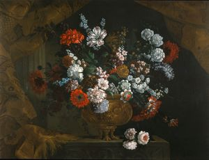 Bouquet of flowers in a bronze urn (private collection)