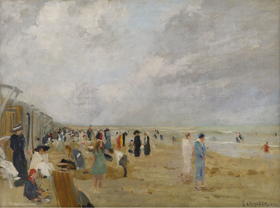 Wikioo.org - The Encyclopedia of Fine Arts - Painting, Artwork by Ernst Oppler - At the Beach
